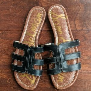 Sam Edelman black leather slide sandals